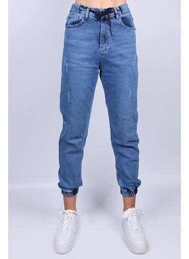 Female Project Mavi Lastikli Paça Yüksel Bel Jogger Jeans Mavi